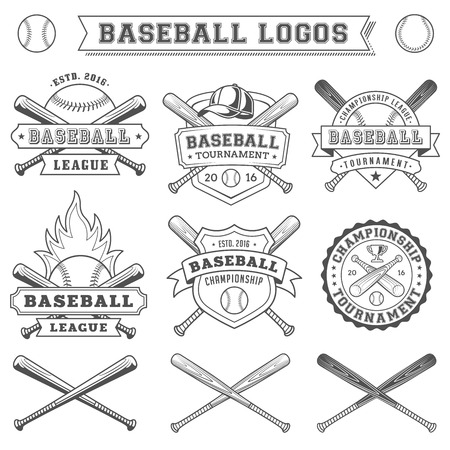 Black and White Vector Baseball logo and insigniasのイラスト素材