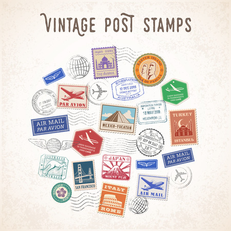 Illustration pour Vector illustration of a Composition of Travel stamps and mail stamps with famous monuments. - image libre de droit