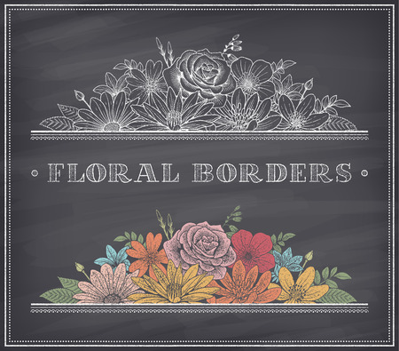 Illustration pour border decoration composed of detailed colorful flowers illustrations with chalk drawing effect on a nice shaded blackboard - image libre de droit
