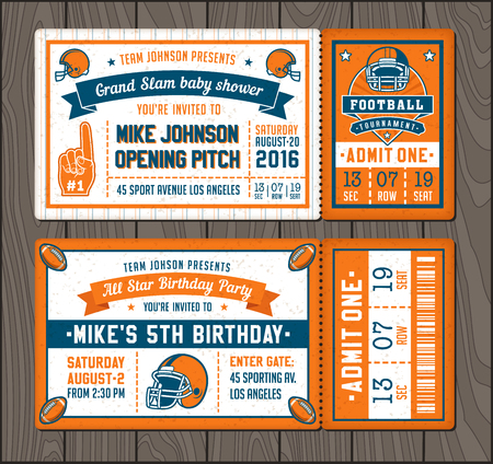 Illustration for illustrations for Invitation tickets for Football themed events - Royalty Free Image