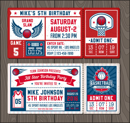 Illustration for Colorful Template Tickets for Basketball theme Party Invites - Royalty Free Image