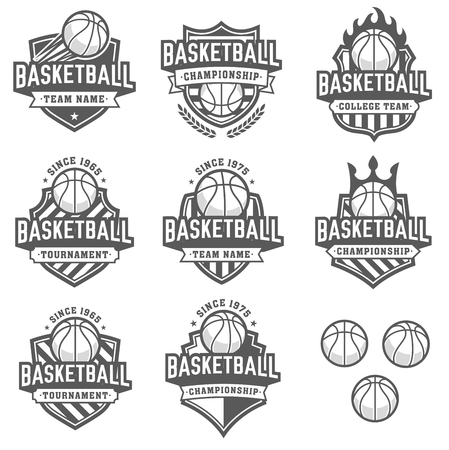 Illustration pour Collection of eight greyscale Basketball and insignias - image libre de droit