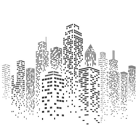 Foto de Vector illustration of black and white skyscrapers, with white buildings and black windows. All windows shapes are present so you can easily edit window colors. - Imagen libre de derechos