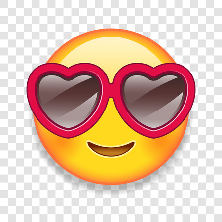 Illustration for High Detail Vector illustration of an custom emoticon with Heart shaped glasses. - Royalty Free Image