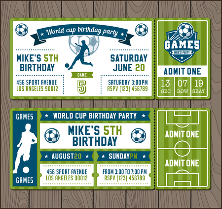 Illustration for Two illustrations for Soccer Themed Party invites. - Royalty Free Image