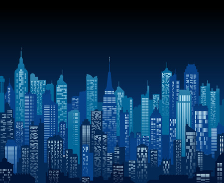 Ilustración de Blue high detail background of a city night view composed of lots of illustrations of generic buildings and skyscrapers - Imagen libre de derechos