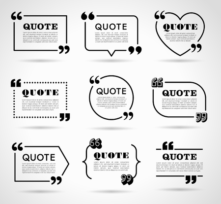 Illustration for Collection of vector quote decoration labels for web and paper publishing - Royalty Free Image