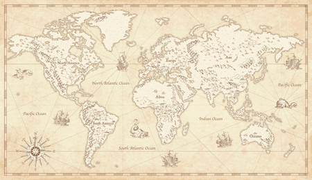 Ilustración de Great Detail Illustration of the world map in vintage style with mountains, trees, cities and main rivers on a old parchment background. - Imagen libre de derechos