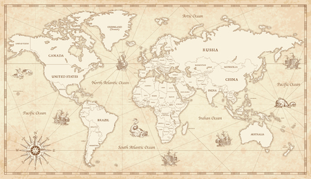 Illustration pour Great Detail Illustration of the world map in vintage style with all countries boundaries and names on a old parchment background. - image libre de droit