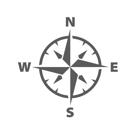 Illustration for Vector dark grey compass windrose icon, with a simple modern look - Royalty Free Image