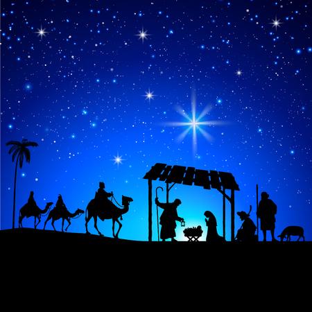Illustration pour High detail Vector nativity Christmas Scene under a sky full of stars background - image libre de droit
