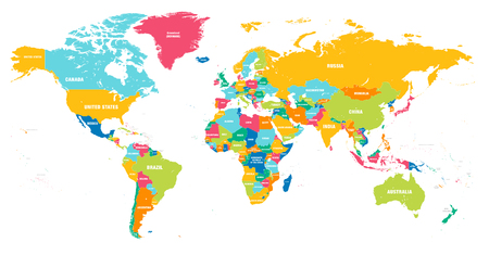 Illustration pour Colorful Hi detailed Vector world map complete with all countries names - image libre de droit