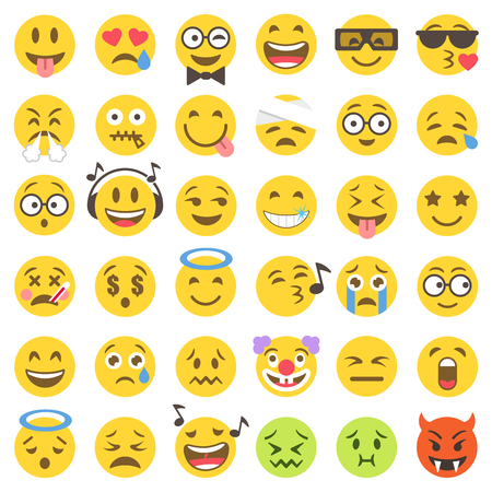 Illustration pour Big Set of 36 high quality vector cartoonish emoticons, in flat style - image libre de droit