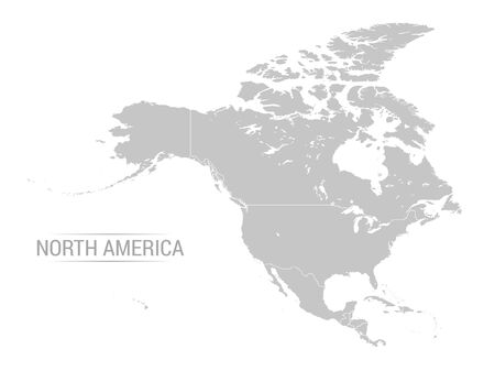 Vector illustration of North America map with grey countries and white borders