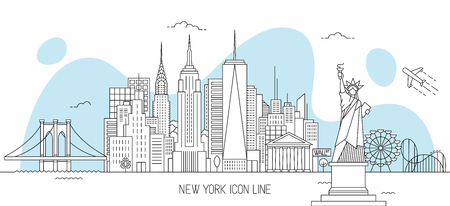 New York skyline vector illustration in line art style