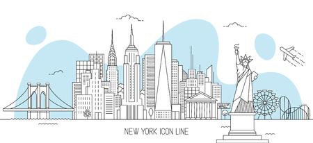 Illustration pour New York skyline vector illustration in line art style - image libre de droit