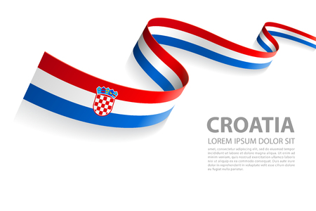 Ilustración de Vector Illustration Banner with Croatia Flag colors in a perspective view - Imagen libre de derechos
