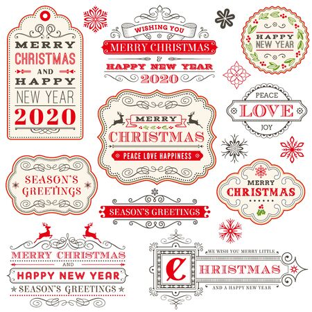 Illustration pour Christmas vector typography ornate labels and badges, happy new year and winter holidays wishes for greeting card - image libre de droit