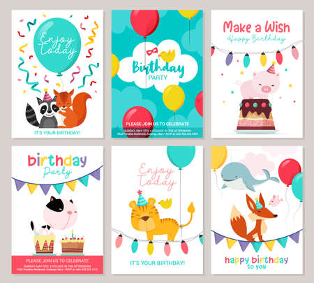 Illustration for Happy birthday greeting card and party invitation templates, vector illustration, hand drawn style - Royalty Free Image