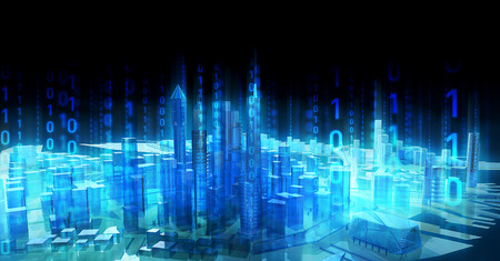 Foto de illustration Business media city communication binary code - Imagen libre de derechos