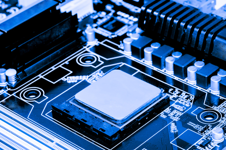 Photo pour Abstract,close up of Mainboard Electronic computer background. (logic board,cpu motherboard,Main board,system board,mobo) - image libre de droit