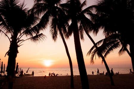 Foto de silhouette, Beautiful tropical beach with palm trees silhouettes at sunset. - Imagen libre de derechos