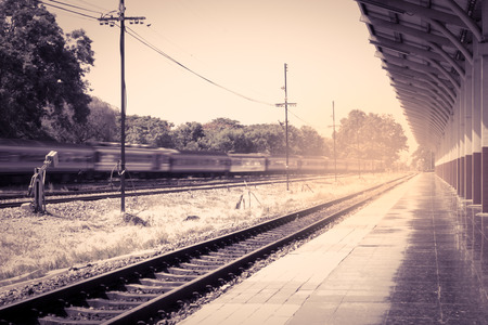 railway station at Chiangmai Thailand in vintage color filter