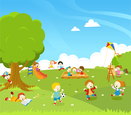 Illustration for Kids Playing At Park - Royalty Free Image