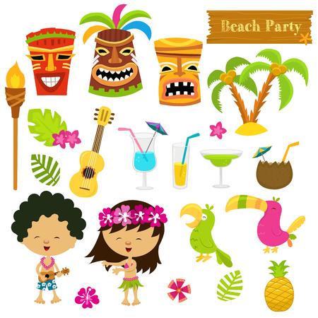 Illustration for Hawaiian Set - Royalty Free Image