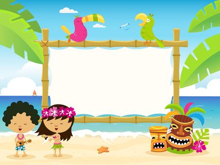 Illustration pour Hawaiian Kids With Billboard - image libre de droit