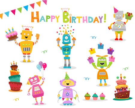 Illustration pour Cute Birthday Robot Set - image libre de droit