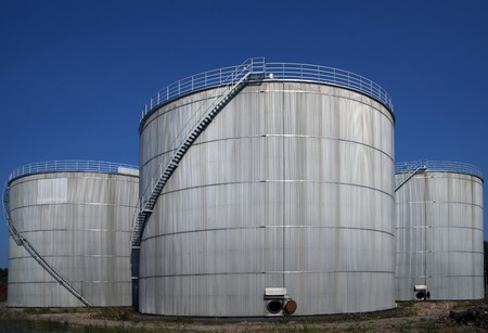 Three silos with ladders