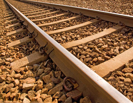 Close up of railroad track in bright sunshine