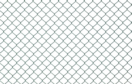 Green chain link fence isolated on white