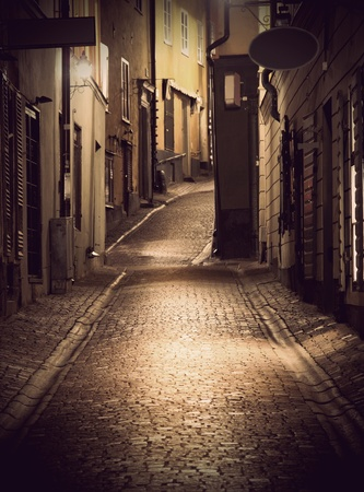 Narrow street in the old town of Stockholm at night
