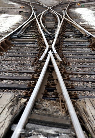 Close up of railway junction with switch