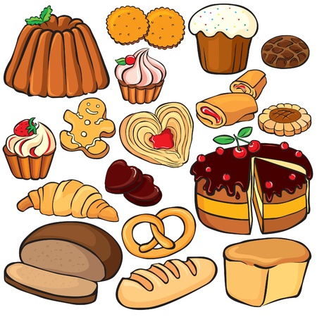 Baking and sweets icon set isolated on white