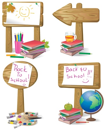 School wooden board sign.Contains transparent object. EPS 10.