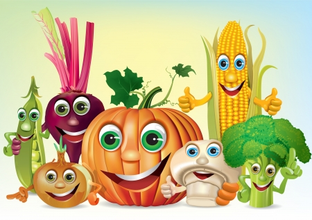 Cartoon fun company of vegetables. Illustration contains transparent object.