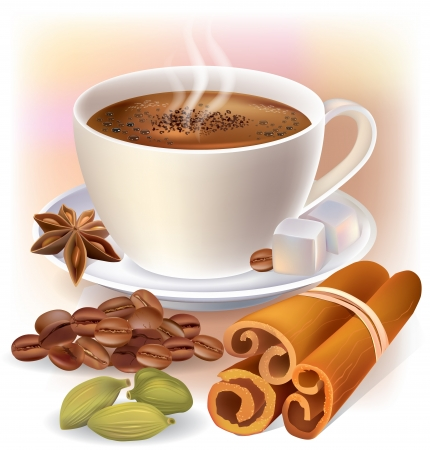 Aromatic coffee with spices  Contains transparent objects