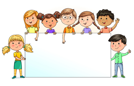 Illustration for Bright funny kids holding blank banner for your text - Royalty Free Image
