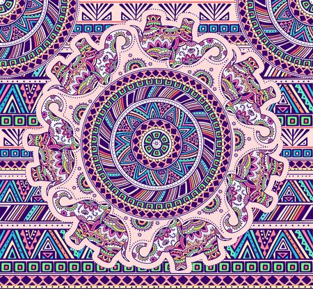 Illustration pour Horizontal pattern with elephants and ethnic elements. EPS 10. - image libre de droit