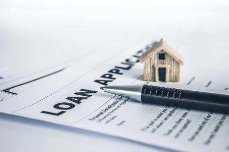 Photo pour Close up  a  Loan Application form paper with pen , home loan or personal loan application concept - image libre de droit