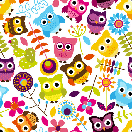 Colorful Owl and Flower Pattern Wallpaper