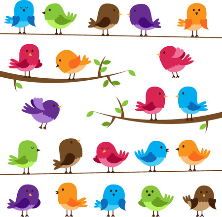 Vector Set of Colorful Cartoon Birdsのイラスト素材