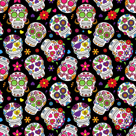Day of the Dead Sugar Skull Seamless Vector Background