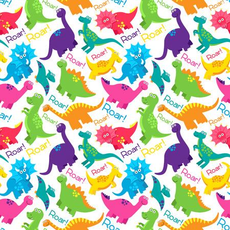 Rainbow Dinosaur Pattern Wallpaper