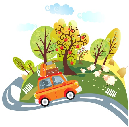 Illustration for Trip by car - Royalty Free Image