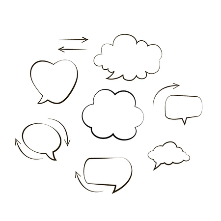Handwriting. Doodle style black comic balloon, cloud, heart shaped design elements. Isolated vector. Line bubbles with arrows on white background