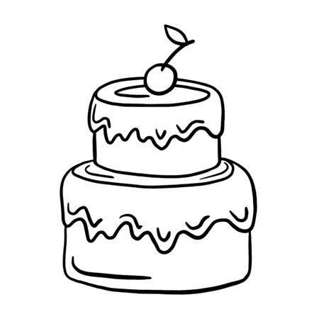 Illustration pour Cake. Vector linear illustration. freehand drawing doodles. Birthday cake. - image libre de droit